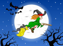 Witch flying over the moon Stock Photography