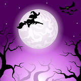 Witch flying over the moon Stock Images