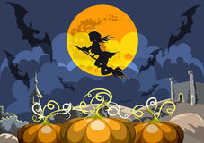 The witch flying in the sky. The young witch flying in the midnight sky under the full moon against a medieval landscape with a field of pumpkins stock illustration