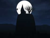 Witch flying to her house on a hill during night. Royalty Free Stock Images