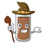 Witch fresh chocolate splash on pouring mascot. Vector illustration stock illustration