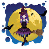 Witch and Full Moon Royalty Free Stock Image