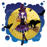 Witch and Full Moon Royalty Free Stock Images