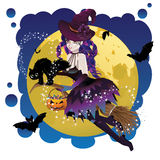 Witch and Full Moon Royalty Free Stock Photo