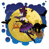 Witch and Full Moon Royalty Free Stock Photos