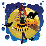 Witch and Full Moon Royalty Free Stock Photography