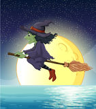 Witch and fullmoon. Ilustration of a witch flying at night royalty free illustration