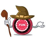Witch FunFair coin mascot cartoon. Vector illustration Royalty Free Stock Image