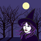 Witch with ghosts, halloween vector illustration. Halloween image of a wicked witch with ghosts with the moon on the background, vector illustration Royalty Free Stock Photo