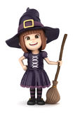 Witch Girl. 3D render of a girl wearing Halloween witch costume Royalty Free Stock Photo