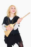 Witch girl playing air guitar Royalty Free Stock Image