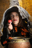 Witch giving a poisened apple.  Stock Image
