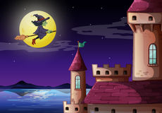 A witch going to the castle Stock Images