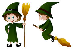 Witch in green costume Stock Photo