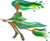 Witch in green Stock Images