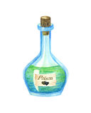 Witch Green Poison Bottle. Watercolor illustration Stock Image