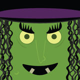 Witch. Green, scary witch face with warts and yellow eyes Royalty Free Stock Photos