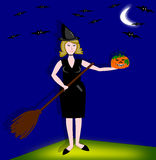 Witch Halloween. This image may have broad use for Halloween, for the creation of greeting cards, wrapping paper Vector Illustration