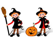 Witch Halloween. Smiling little witch with black cat on Halloween Royalty Free Stock Photo