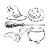 Witch, Halloween accessories - hat, caldron, jack o lantern, broom, bat Stock Photo