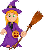 Witch Halloween Cartoon with broom and pumpkin bag Royalty Free Stock Image