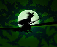 Witch Halloween Green Background Royalty Free Stock Image