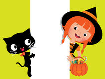 Witch Halloween, her cat and a white banner. Halloween witch and her cat holding a white banner Stock Photos