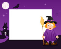 Witch Halloween Horizontal Frame. A Happy Halloween horizontal photo frame with a cute witch holding a broom in a violet night scene background with the full Royalty Free Stock Image