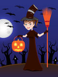 Witch at Halloween Night / illustration Stock Image