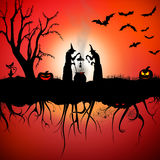 Witch halloween scene. Scary Halloween Scene with witches and pumpkins, bats, cat, tree, spiders, spider net royalty free illustration