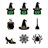 Witch Halloween vector icons set Royalty Free Stock Images