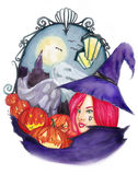 Witch of Halloween (watercolor) Royalty Free Stock Photography