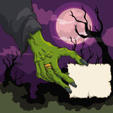Witch Hand with Paper in Spooky Scene, Vector Illustration. Spooky scene with witch green hand holding a little stamp in spooky scene with moon Stock Images