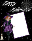 Witch Happy Halloween Scrapbook. Add your favorite photo or text to this. This is decorated with a beautiful redhaired witch dressed in purple. A white cobweb vector illustration