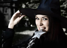 Witch in the hat Stock Image