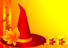 Witch Hat. Autumn background with witch hat for Halloween. Vector illustration Royalty Free Stock Photography