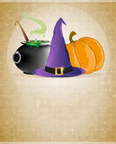 Witch hat, boiling cauldron and pumpkin. On a beige background with retro patterns Stock Images