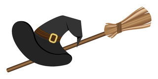 Witch hat and a broom,. Can represent concepts like witches, halloween. Vector illustration Stock Images