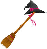 Witch hat with broom. Illustration of isolated witch hat with broom Royalty Free Stock Image