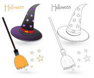 Witch hat and broom. Colorful witch hat and broom sketch. The black and white version is useful for coloring book pages for kids Stock Photo