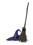 Witch hat and broomstick. Illustration of witch hat and broomstick, in grunge style Stock Photography