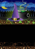 Witch hat and  cauldron Royalty Free Stock Photography