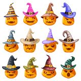 Witch hat decoration halloween jack o lantern pumpkin scary faces smile emoji icons set isolated cartoon design vector. Witch hat decoration halloween jack o vector illustration