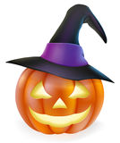 Witch hat Halloween pumpkin. An illustration of a cute cartoon carved Halloween pumpkin lantern with happy smile and pointed witch hat Stock Images
