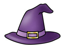 Witch Hat. Illustration of a cartoon purple witch hat isolated on white Royalty Free Stock Image