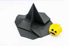 Witch hat and  jack-o'-lantern. With white background Stock Photo