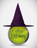 Witch Hat over Metallic Button, Vector Illustration Royalty Free Stock Images
