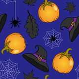 Witch Hat and Pumpkins Seamless Pattern Royalty Free Stock Images