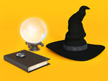 Witch hat, spell book and crystal ball. Stock Images