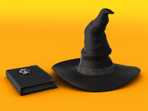 Witch hat and spell book. Royalty Free Stock Photos